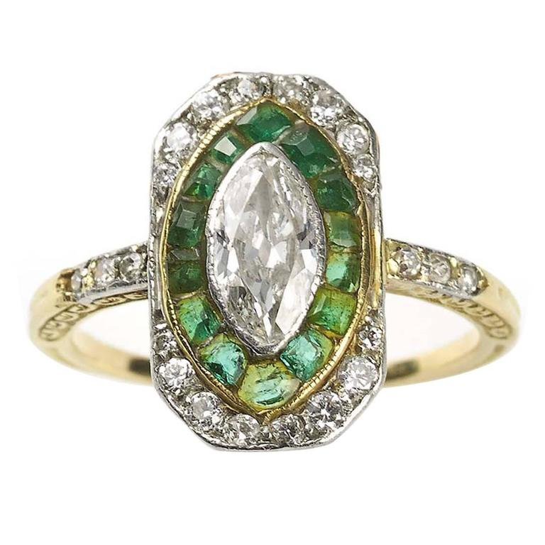 1960 Emerald Diamond Gold Cluster Ring