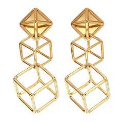 Cushion Cube Gold Earrings