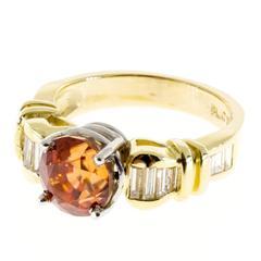 Orange Natural Zircon Baguette Diamond Gold Platinum Engagement Ring