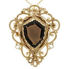 Smoky Quartz Shield Shape Gold Pin Pendant Necklace
