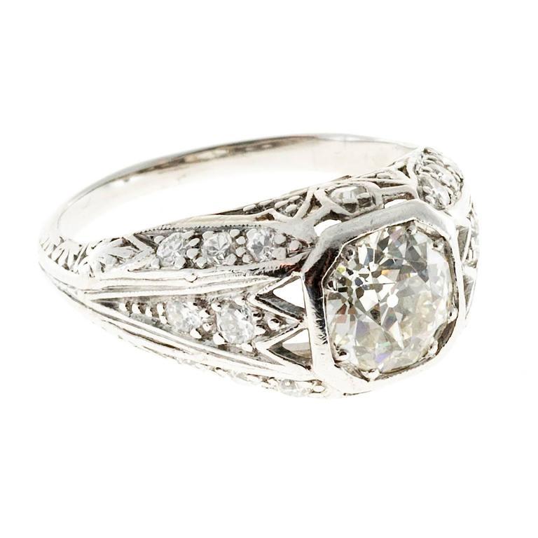 Art Deco Old European Diamond Platinum Engagement Ring