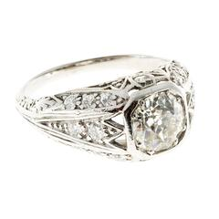 Art Deco Old European Diamond Platinum Engagement Ring