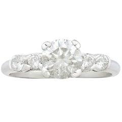 1970s 1.21 Carat Diamond and Platinum Cocktail Ring