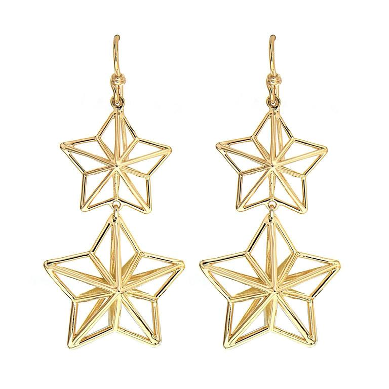 Dangling Stars Gold Earrings For Sale