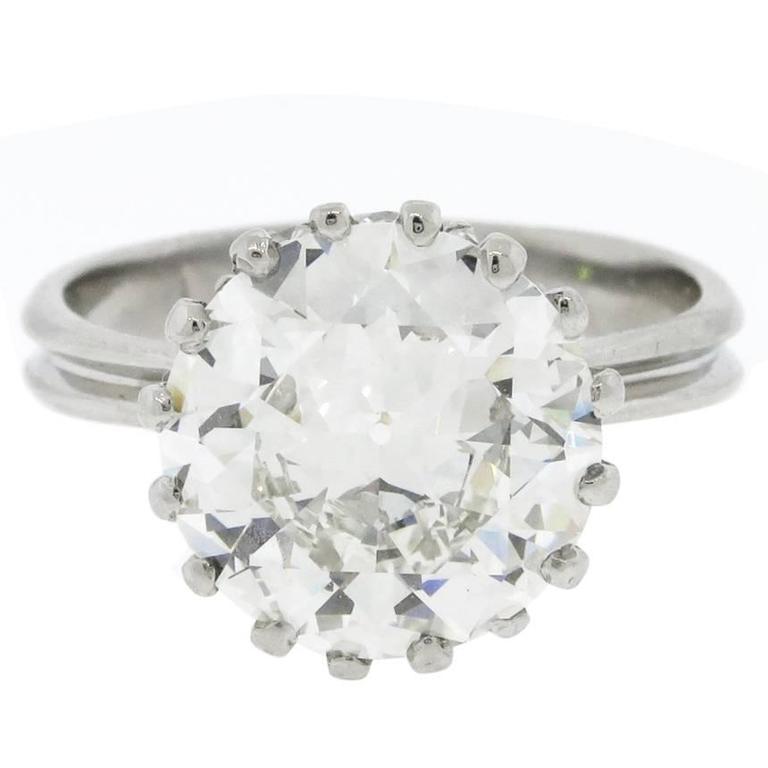 5.19 Carat Old Round Brilliant Cut Diamond Platinum Solitaire Ring