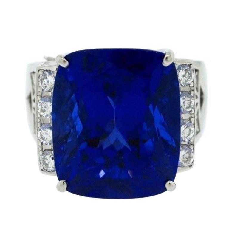 Cushion Cut Tanzanite Platinum Ring