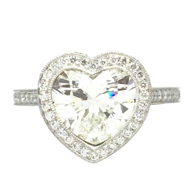 2 28 Carat GIA Cert Heart Shaped Diamond Platinum Halo Ring at 1stdibs