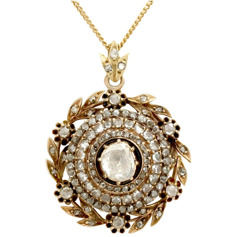 Antique Victorian 2.95 Carat Diamond and Yellow Gold Pendant