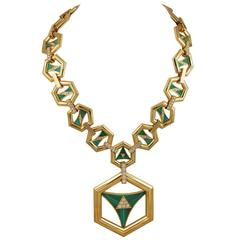 1970s Cartier Malachite Diamond Gold Sautoir Necklace