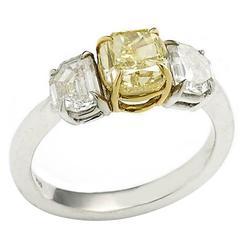 1.60 Carat GIA Cert Fancy Yellow Diamond Platinum Ring