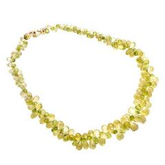 Peridot Citrine Briolette Gold Necklace