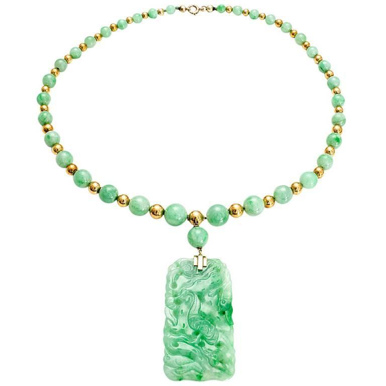 Natural graduated round jadeite jade bead gold pendant necklace at natural graduated round jadeite jade bead gold pendant necklace for sale mozeypictures Gallery