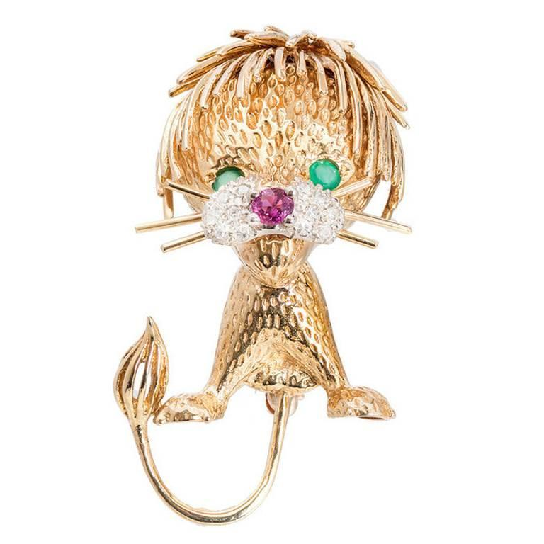 Ruby Emerald Diamond Lion Cub Brooche