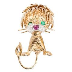 Ruby Emerald Diamond Lion Cub Brooche