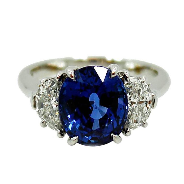 Tiffany & Co. 5.99 carat Natural Blue Sapphire Diamond Platinum Ring 1