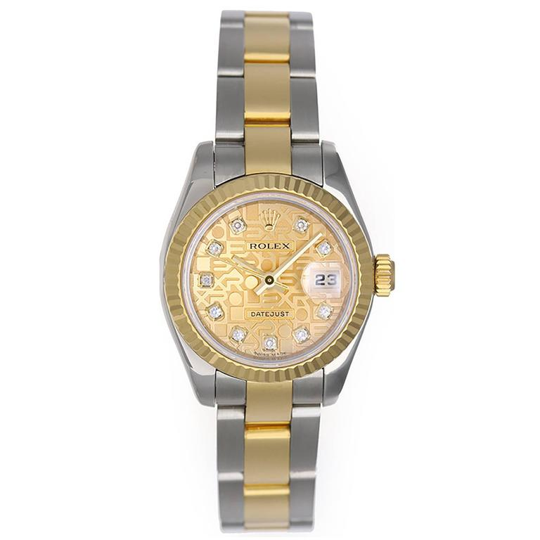 Rolex Yellow Gold Stainless Steel Diamond Dial Datejust Automatic Wristwatch  For Sale