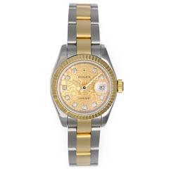 Rolex Yellow Gold Stainless Steel Diamond Dial Datejust Automatic Wristwatch