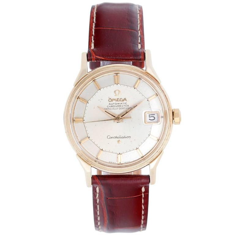 Omega Yellow Gold Constellation Pie Pan Automatic Wristwatch  For Sale