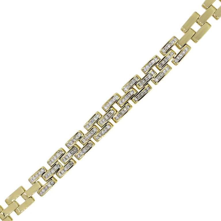 Princess Cut Diamond Gold Link Bracelet