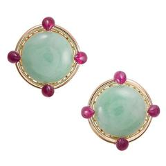 Seaman Schepps Cabochon Jadeite Ruby Gold Earrings