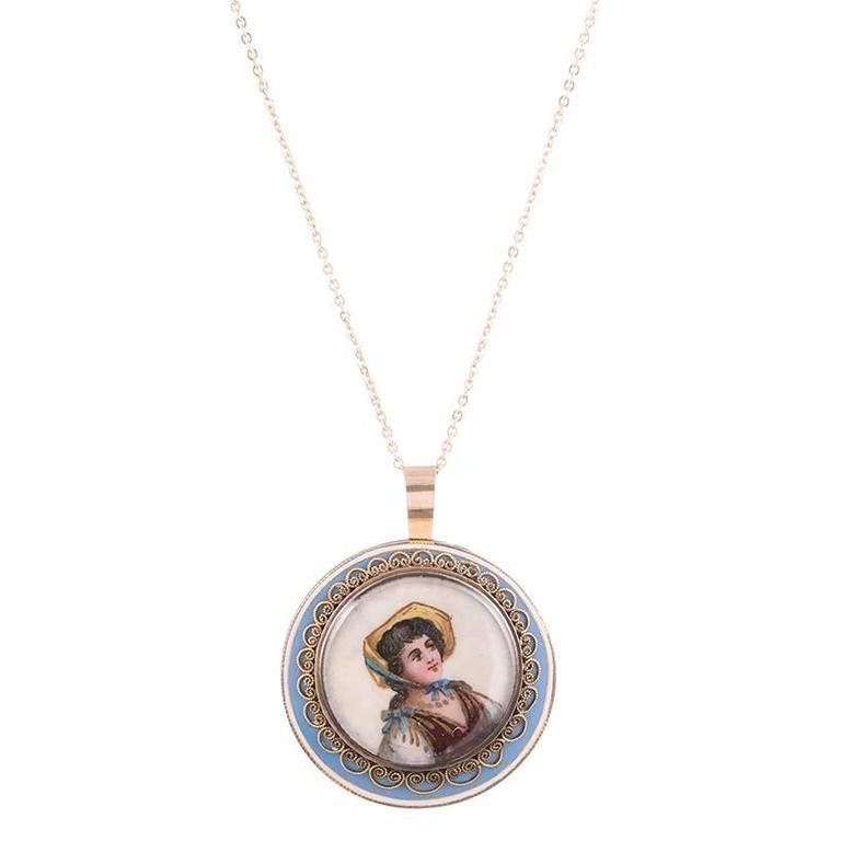 1900s enamel gold portrait pendant for sale at 1stdibs