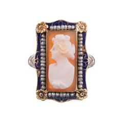 Enamel Seed Pearls Cameo Two Color Gold Filigree Ring
