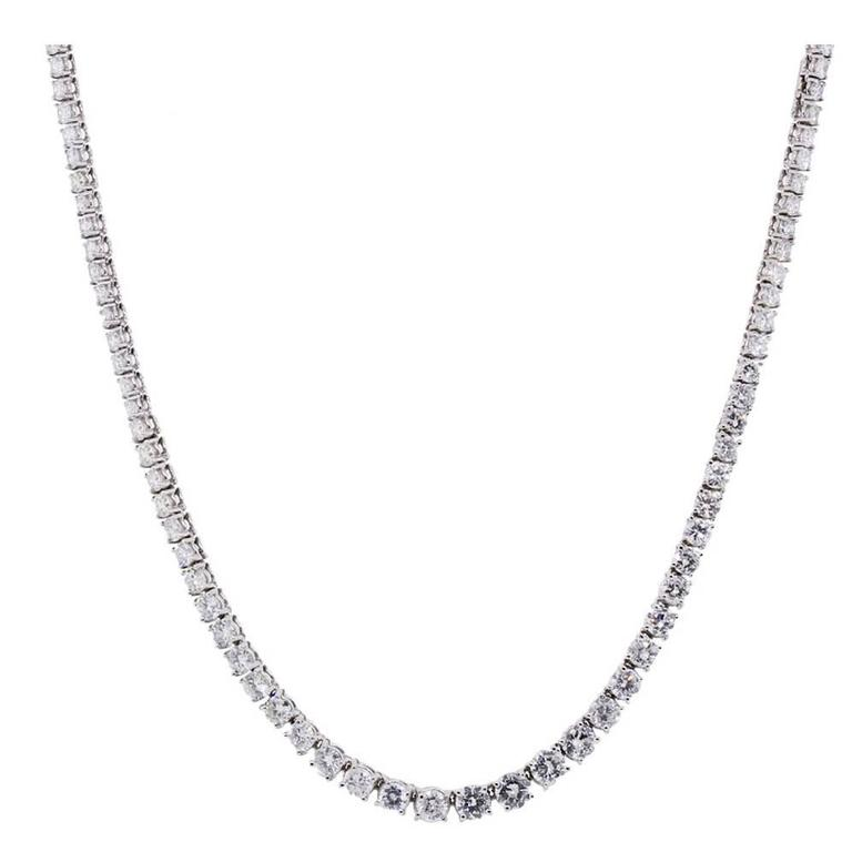 Diamond Platinum Riviere Necklace