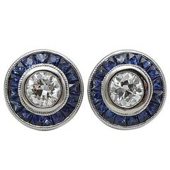 Sapphire Diamond Platinum Target Earrings
