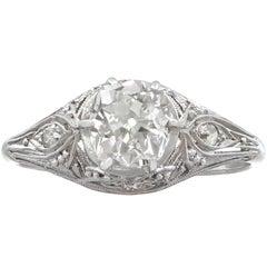 1940s 1.01 Carat Diamond and Platinum Solitaire Ring