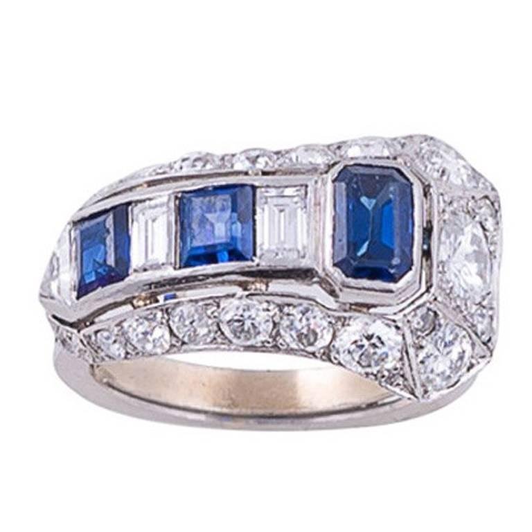 Art Deco Sapphire Diamond Platinum Arrow Ring