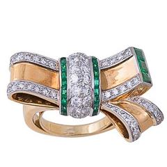Retro Emerald Diamond Gold Bow Ring