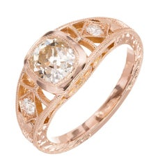GIA Certified Peter Suchy 1.00 Carat Diamond Gold Men's Ring