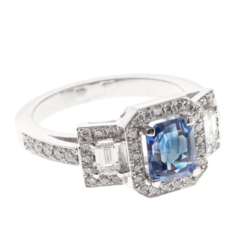 Peter Suchy Sapphire Diamond Platinum Triple Halo Engagement Ring