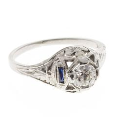1930s Sapphire Diamond Filigree Gold Engagement Ring