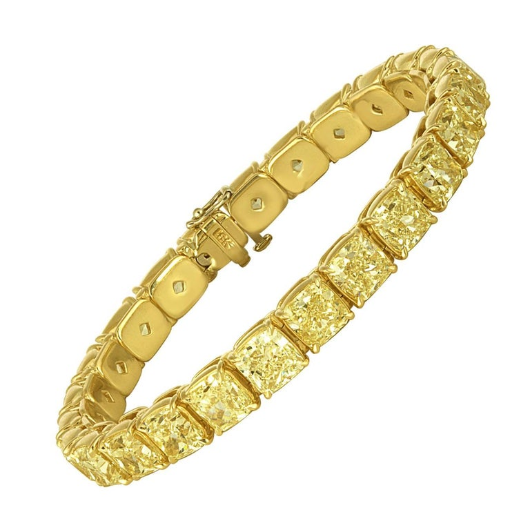 Yellow Diamonds Cushion Cut Set in Gold Bracelet For Sale