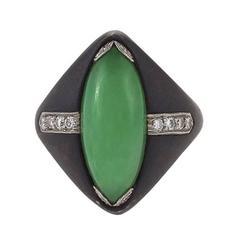 Marsh & Co. 1950s Jadeite Jade, Diamond, Steel and Platinum Ring