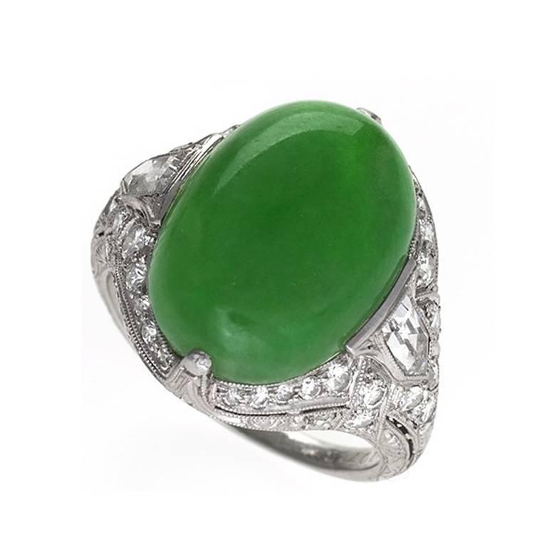 1920s Art Deco Jadeite Jade, Diamond and Platinum Ring