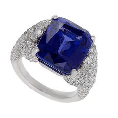 Henry Dunay Late-20th Century Tanzanite, Diamond and Gold Ring