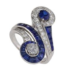 Tiffany & Co. 1950's Diamond, Sapphire & Platinum 'Moi et Toi'  Ring