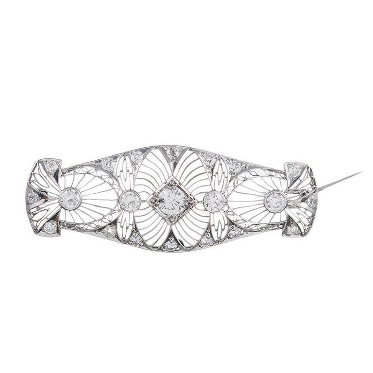 "Art Deco Diamond Platinum ""Lace"" Brooch"
