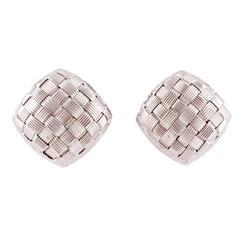 Italian Gold Omega Backed Basket Weave Earrings