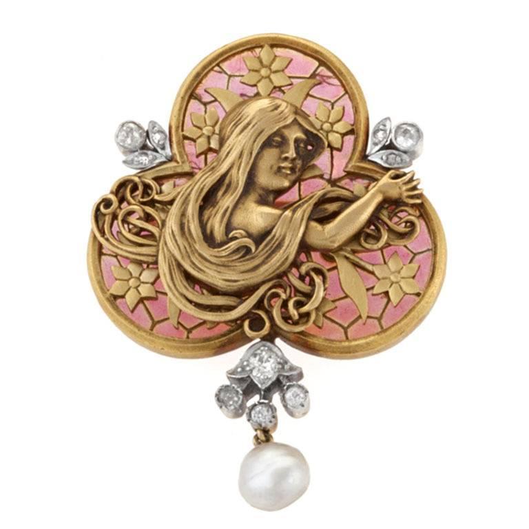 French Art Nouveau Diamond Plique-à-Jour Enamel Pearl and Gold 'Maiden' Brooch For Sale