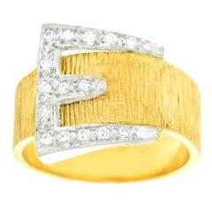 Art Deco Diamond Set Gold Buckle Ring