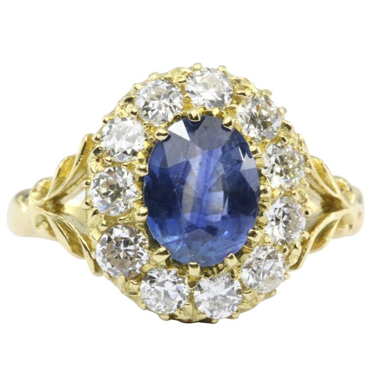 English Natural Burma Sapphire Old European Cut Diamond Ring AGL Certified 1