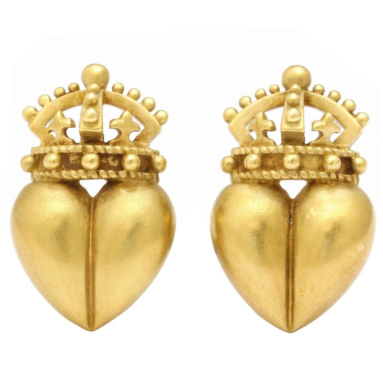 1987 Kieselstein Cord Heart and Crown Earrings 1