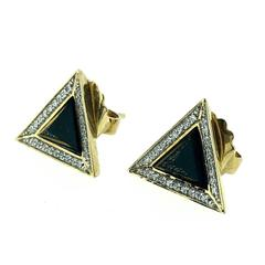 Black Pyramid Gold Triangle Stud Earrings