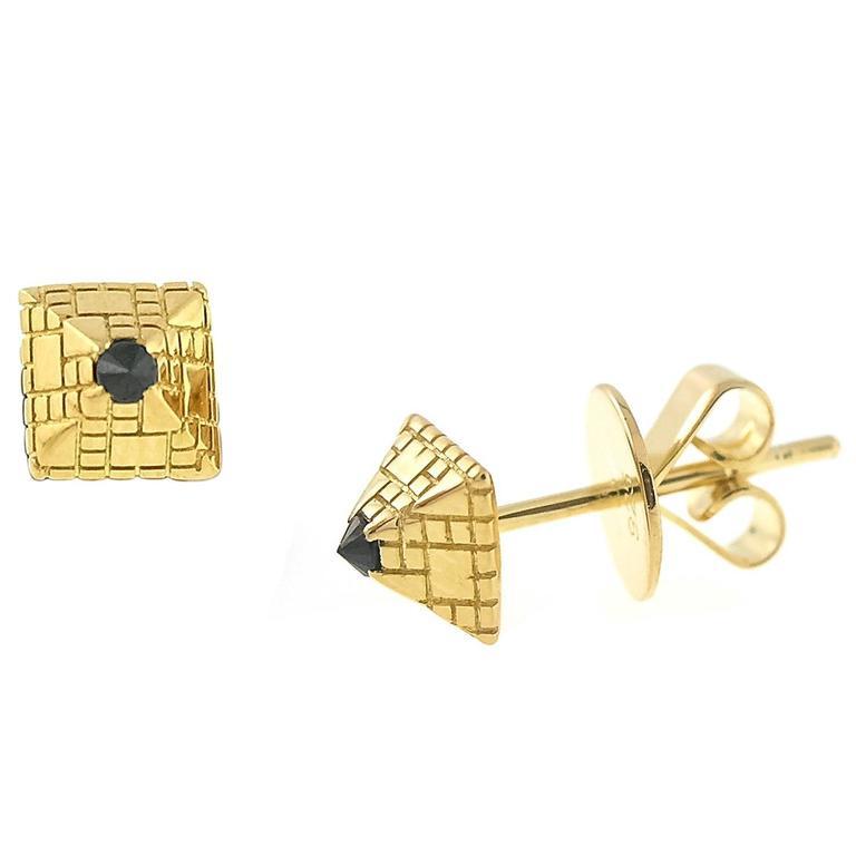 Black Diamond Gold Singular Stud Earrings