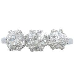 1940s 1.91 Carat Diamond and Platinum Three Stone Trilogy Ring
