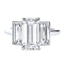 3.10 Carat Internally Flawless Emerald Cut Diamond Platinum Ring
