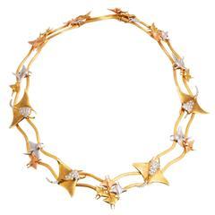 Diamond Three Color Gold Manta Ray Necklace